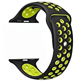 Yearscase Apple Watch Band 42mm, Soft Silicone Replacement Band for Apple Watch Series 3, Series 2,Series 1, Sport , Edition,M/L Size - Black / Volt Yellow