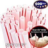 Soda Shoppe Style Red and White Striped Drinking Straws 600 Pack. Each 8in BPA Free Straight Disposable Straw is Individually Wrapped in Paper for Safe, Clean Fun! Great for School STEM Projects!