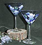 Hand Painted Martini Glasses - Lavender and White Roses on Cobalt Blue glass (Set of 2)