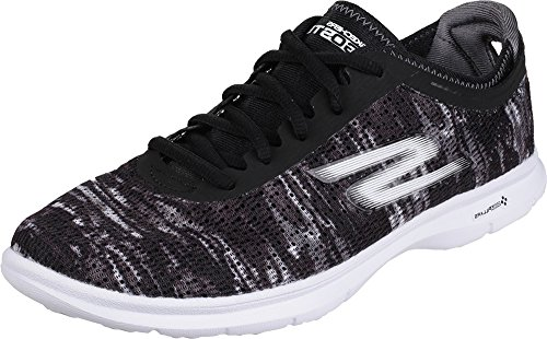 Skechers Go Step Shoes Ladies Lace up Rubber Sole Running Trainers Footwear Black/White 4HyirPsJ0E