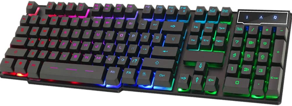 Wired Gaming Keyboard USB tri-Color Backlit Floating keycap Mechanical Keyboard Black Compatible with Win2000 7//8//10 Size 44.2 x 13.3 x 3 cm XP//Vista