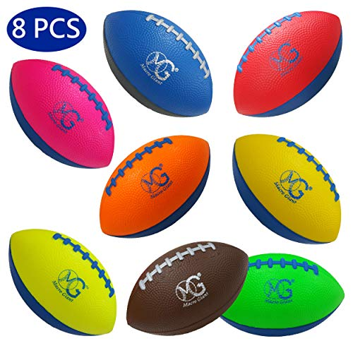 Macro Giant 6 Inch Soft Foam Football, Set of 8, Assorted Colors, Kid Ball, Training Practice, Playground, Preschool, Parenting Activity, Toy Gift, Business -