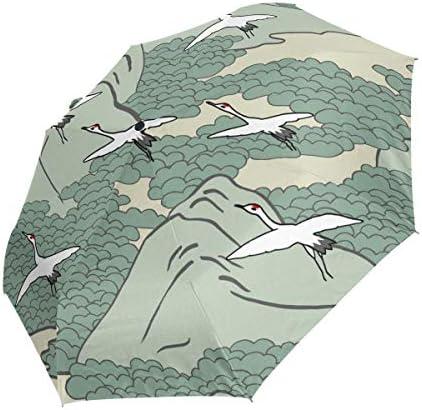 Akiraki 折りたたみ傘 レディース 軽量 ワンタッチ 自動開閉 メンズ 日傘 UVカット 遮光 和風 和柄 鶴 グリーン 緑 かわいい 可愛い 折り畳み傘 晴雨兼用 断熱 耐強風 雨傘 傘 撥水加工 紫外線対策 収納ポーチ付き
