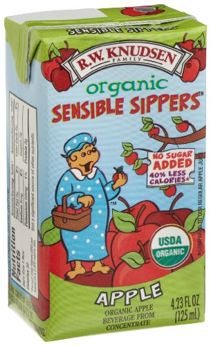 R.W. Knudsen Sensible Sippers Organic Beverage, Apple, 4.23-Ounce Aseptic Boxes (Pack of 40)
