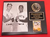 Stan Musial Willie Mays Collectors Clock Plaque w/8x10 RARE Photo and Card