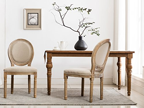 (French Dining Chairs, Distressed Elegant Tufted Kitchen Chairs with Carving Wood Legs & Round Back - Set of 2 - Beige)