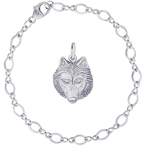 Rembrandt Charms Sterling Silver Wolf Head Charm on a Figure Eight Link Bracelet, ()