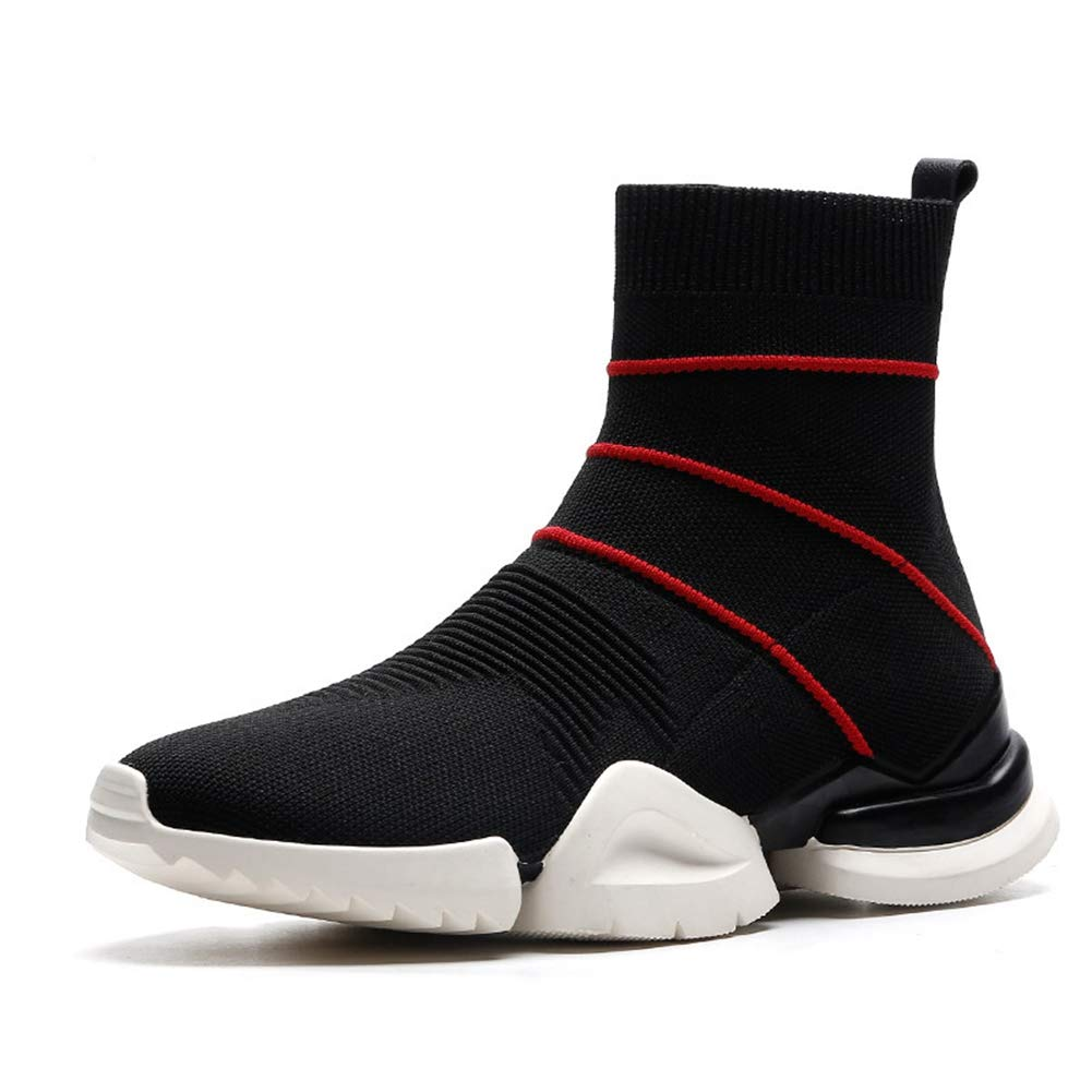 Red Btrada Women's Winter Ankle Boots Fashion Knitting Antiskid Female Booties Elastic Comfortable Sock shoes
