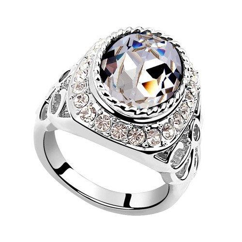 plateado elementos de Swarovski Crystal Diamond Accent Venus Eternidad Compromiso Anillos de Boda para Mujer Hombre