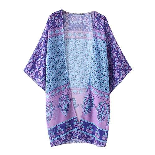 Han Shi Blouses, Women Loose Print Chiffon Shawl Kimono Cardigan Cover up Shirt Top (XL, Purple)