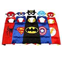JouerNow Superhero Captain America Bat Spider Party Dress Up Satin Cape with Felt Mask(5 Set) Halloween Christmas Kids Boys Gift