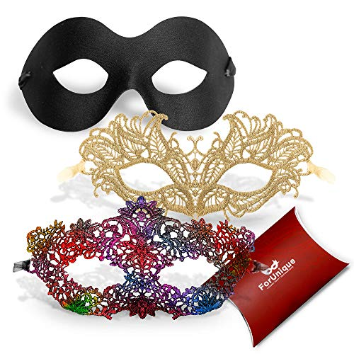 ForUnique Masquerade Mask for Couple Women Men