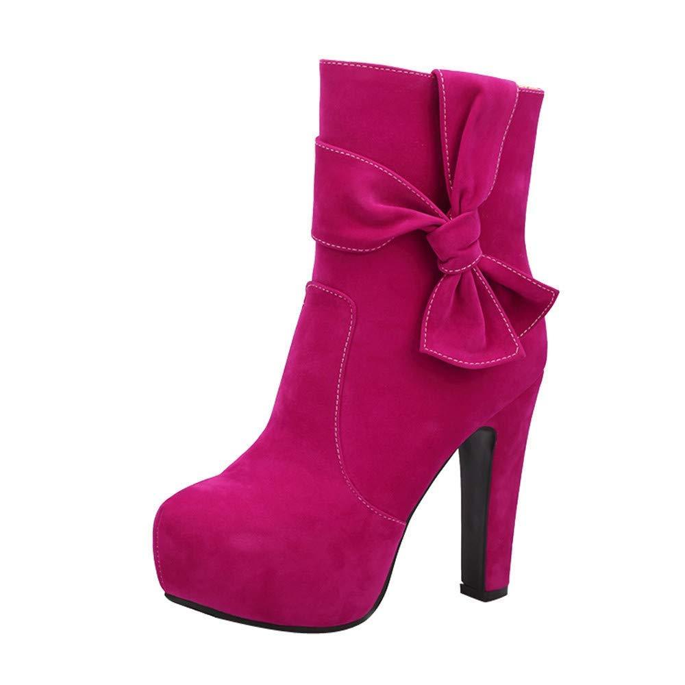 ZHRUI Runde Kopf Wasserdichte high Heel Mode Seitlichem reißverschluss sexy Damen Kurze Stiefel (Farbe   Hot Rosa Größe   3)