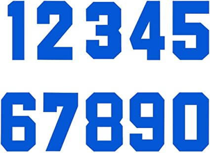 RECHERE Numbers Iron-On Heat Transfer for Football Baseball Jersey Sports T-Shirt Solid font Blue