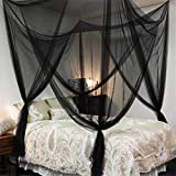 Bigger Bed Than a King Size Lighting-Time 4 Corners Post Bed Canopy Twin Full Queen King Mosquito Net for Full Queen King Bedding(Black)