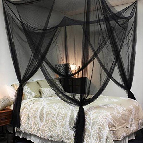 4 Corners Post Bed Canopy Twin Full Queen King Mosquito Net for Full Queen King Bedding(Black)