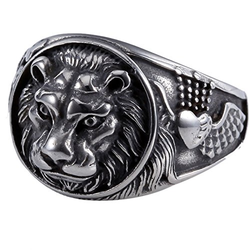 Lion King Mens 361L Stainless Steel Biker Rocker Gothic Vintage Black Ring Size 7-13