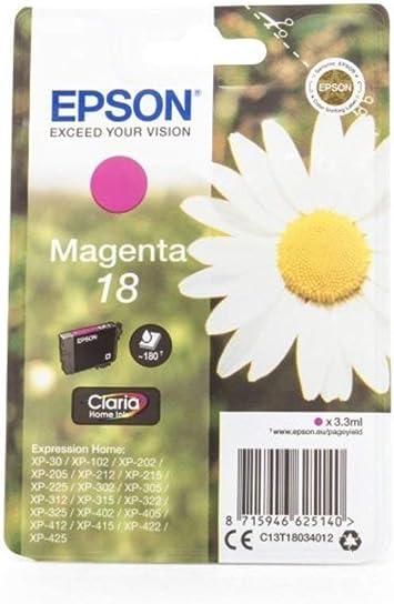 Epson Expression Home Xp 412 18 C 13 T 18034010 Original Tintenpatrone Magenta 180 Seiten 3ml Bürobedarf Schreibwaren