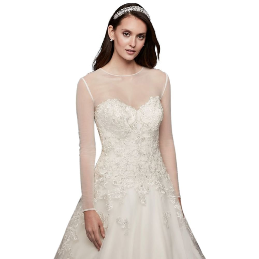 Long Sleeve Tulle Wedding Dress Topper Style Ow2100 At Amazon