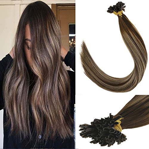 (LaaVoo 20 inch U Tip Remy Virgin Human Hair Extension Brazilian Pre Bonded Balayage Ombre Color Dark Brown to Ash Blonde with Brown For Women 1g/s 50g/50strands)