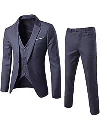 Men's Fashion Slim Fit Suit 3-Piece Business Jacket Vest &Pants