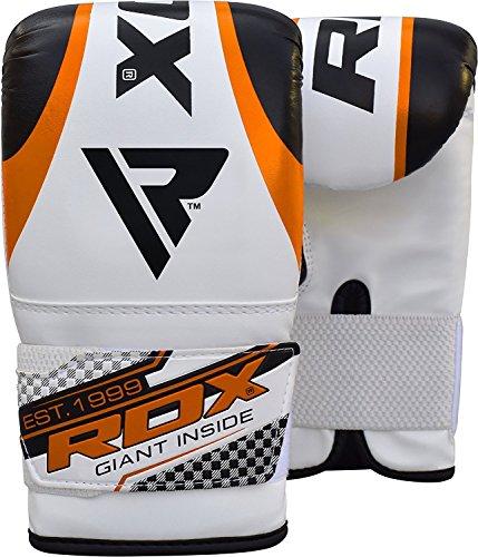 정규품 RDX Maya 하이드 레더 복싱 글로브 펀칭 글로브 격투기 《무에타이》 MMA 연습시합 각색 (화이트/오렌지)