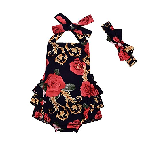 BAOBAOLAI Newborn Baby Girls Clothes Floral Ruffle Halter Romper Jumpsuit Summmer Dress Sunsuit with Headband