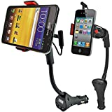 Universal Car Mount, Alpatronix® [MX100] Car Cradle Charging Dock Station with Radio FM Transmitter, USB Charger & 360° Degree Rotating Gooseneck Holder with Secured Rubber Grip for iPhone 6S Plus, 6S, 6 Plus, 6, SE, 5C, 5S, 5, 4S, 4 / Samsung Galaxy S7 Edge, S7, S6 Edge+, S6 Edge, S6, S5, S4, Note 5, 4, 3 / Google Nexus 6, 5, 4 / LG V10, G4, G3 / HTC One, M9, M8, M7 / Motorola Droid, Nokia Lumia, Sony Xperia, Android Smartphones & GPS Devices [Over Charge Protection] - (Black)