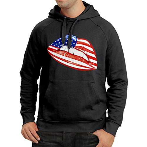 N4334H Hoodie USA Lips (Small Black - Outlet Tanger Shops