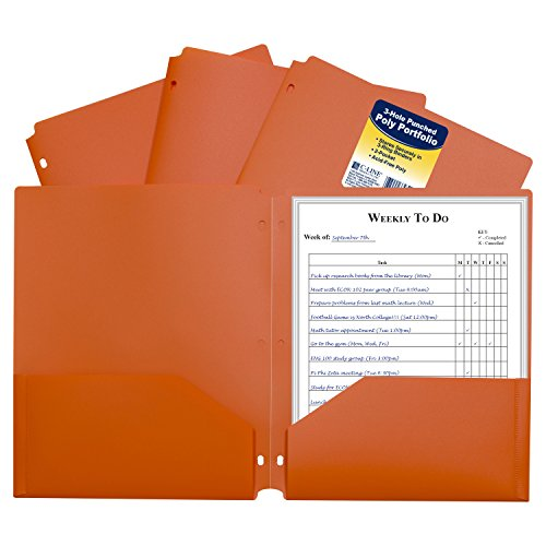 C-Line Two-Pocket Heavyweight Poly Portfolio Folder with Three-Hole Punch, Box of 25, Orange (33932-25)
