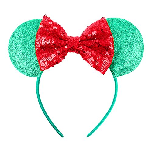 Cute Mickey Mouse Ears Headband Hoop Hair Accessories Headdress Hair Accessories for Party Festivals (Green Red) (Red Headband Green)