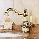 Durable European High end counter basin kitchen faucet copper gold natural jade basin faucet copper hot faucet practical