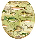 Toilet Tattoos, Toilet Seat Cover Decal, Gone Fishing, Size Round/standard