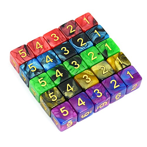 Smartdealspro 25-Pack D6 Six Sides 16mm Two Color Dice for DND MTG PRG Wow Table Games