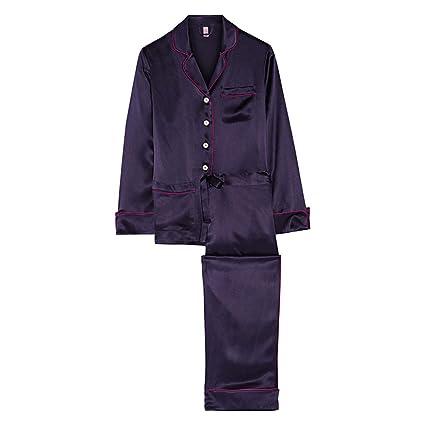 Pijamas de Seda Femenina de satén de Manga Larga Pantalones HUXIUPING (Color : Purple,