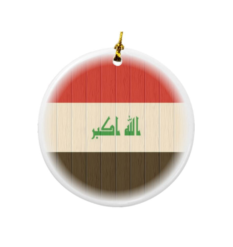 Rikki Knight Iraq Flag on Distressed Wood Design Round Porcelain Two-Sided Christmas Ornaments