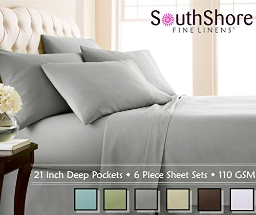 Southshore Fine Linens Extra Deep Pocket Sheet Set, Queen, 6 Piece, Steel Gray (Deep Pocket Bed Sheets Queen Set)