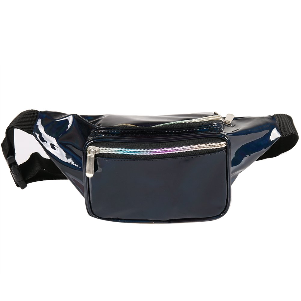 Holographic Fanny Pack for Women - Waist Fanny Pack with Adjustable Belt for Rave, Festival, Travel, Party (Pure Black)