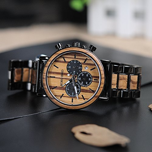 BOBO BIRD Wooden Mens Watches Stylish Wood  Stainless Steel Combined Chronograph Military Quartz