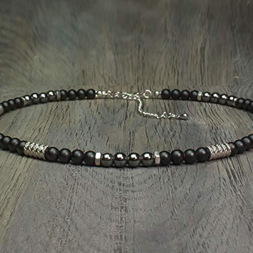 Collier Perles 6mm Agate Pierre Gemme 39 Ø Taille 45cm Homme Noir k0PnwO8X