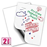 """Magnetic Dry Erase Sheets   White Blank 13.75"""" x 17.75"""" Magnet for Refrigerator and More  Strong Flexible Wipe Off Fridge White Board   Schedule, Grocery List, Notepad, Checklist, Memo   2 Pack"""