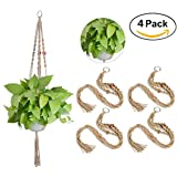 4 Pack Macrame Plant Hangers, Carnationy 4 Legs 42 InchIndoor Outdoor Handmade KnottedCeiling Plant Holder for pots, plants, lawn, patio, home, garden, deck balcony, ceiling, and decorative use