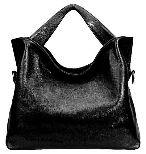 SAIERLONG Ladies Designer Womens Off-White Fashion Soft Leather Handbags Shoulder Bags Black