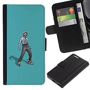 LECELL--Cuero de la tarjeta la carpeta del tirón Smartphone Slots Protección Holder For Apple Iphone 6 PLUS 5.5 -- Trabajador Rebelde --