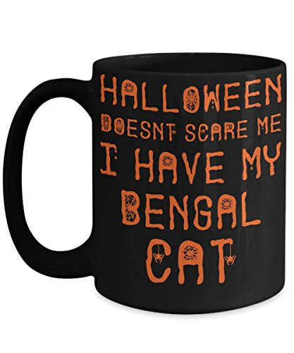 Halloween Bengal Cat Mug - White 11oz Ceramic Tea Coffee Cup - Perfect For Travel And Gifts -