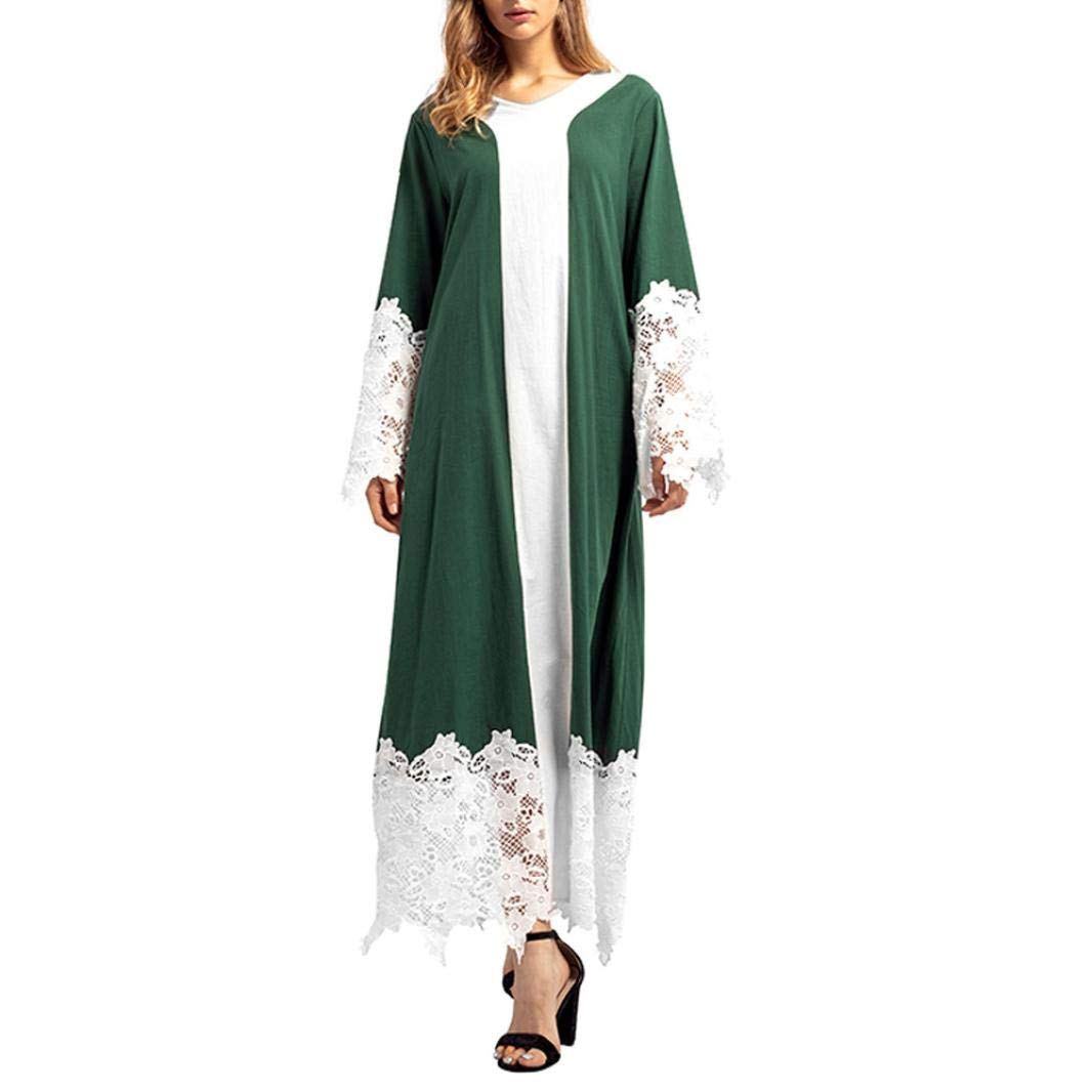 FTXJ Women Lace Patchwork Long Sleeves Islamic Muslim Middle East Maxi Robe Dresses