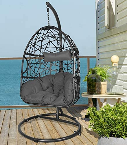 Action club Egg Chair with Stand Indoor Outdoor Patio Wicker Hanging Swing Chair with UV Resistant Tufted Cushion Hammock Porch Chaise Lounge Chair Steel Frame Dark Grey