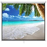 ZENY Projection Screen Manual Pull Up Projector 16:9 HD 100'' Diagonal, Fortable Stand and Tripod, Suitable for HDTV/Sports/Movies/Presentations (100'')