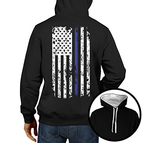 HAASE UNLIMITED Men's Thin Blue Line American Flag Two Tone Hoodie Sweatshirt (Black/White Strings, (2 Tone Hoodie)
