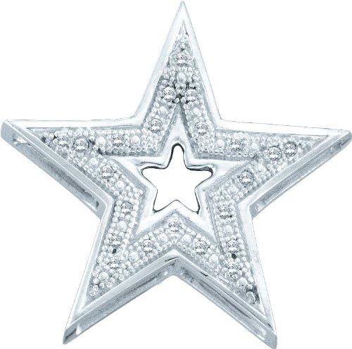 10 k or blanc Diamant 0,05 Dwt Rough-Pendentif étoile or de haute qualité Or 9 carats JewelryWeb